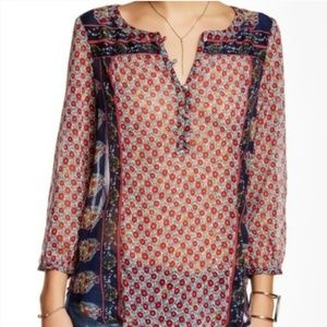 Lucky Brand Dahlia BOHO top - red and navy floral